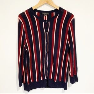 Ann Taylor Cardigan Striped Button Up Size Large